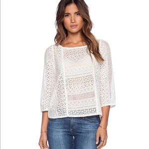 Joie Tulia lace eyelet crochet blouse top
